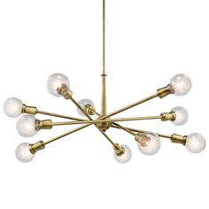 "This Mid-Century chandelier from the Armstrong collection features a ""sputnik"" design with adjustable arms allowing you to customize the light for just the right look.  Down rod Length: 36"" Base Backplate: 6"" Body Height: 8 Light: 38.75"" - 10 Light: 49"" Finish: Natural Brass"