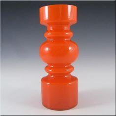 Lindshammar 1970's Swedish Red Hooped Glass Vase - £80.00
