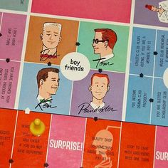 Vintage Barbie board game with BOB, KEN, TOM, and POINDEXTER as date choices!!!!!!