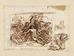 RISD Museum: Attributed to Pasquale Andrea Marini, Italian, 1682. ca. 1682 - 1712. Study for Dead Christ with Angels. Pen and ink on white paper. 16.8 x 24.3 cm (6 5/8 x 9 5/8 inches). Museum Works of Art Fund 59.048
