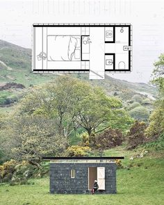 Like the floorplan but needs bigger windows all around. Tiny Cabins, Tiny House Cabin, Tiny House Living, Small House Plans, House Floor Plans, Cabin Design, Tiny House Design, Micro House, Container Design