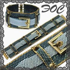 blue jeans peyote - love the buckle. what a neat idea. Seed Bead Patterns, Peyote Patterns, Bracelet Patterns, Beading Patterns, Peyote Beading, Beaded Jewelry Designs, Seed Bead Jewelry, Beaded Jewelry, Necklaces
