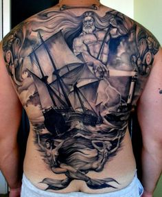 Incredible nautical full back #tattoo with #Poseidon!