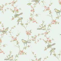 Beautiful Birds Duck Egg Wallpaper Dunelm flower