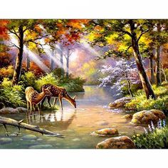 DIY Acrylic Framed Oil Painting by Numbers Forest Stream Canvas Painting Wall Pictures for Living Room Wall Art Decor Posters Landscape Pictures, Landscape Paintings, Belle Image Nature, Paint By Number Kits, Forest Landscape, 5d Diamond Painting, Diamond Art, Cross Paintings, Paint Set