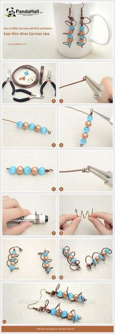 Jewelry Making Tutorial-How to Make Simple Wire Wrap Earrings | PandaHall Beads Jewelry Blog~<3