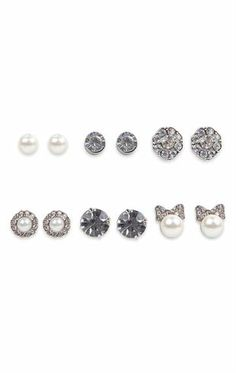 Deb Shops Set of Six Stud Earrings with Mixed Stone, Flowers and Pearls $8.90