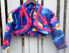 Handmade girls Rock 'n Roll Fleece Bolero, size 8, guitar print fleece, red pleated ribbon by AnnaBellesFavorites on Etsy
