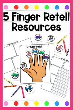 Kindergarten Anchor Charts, Kindergarten Reading, Guided Reading Lessons, Reading Resources, 5 Fingers, Teacher Treats, First Grade Writing, Story Elements, Reading Centers