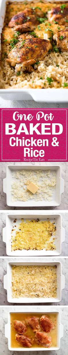 Chicken and Rice This super quick prep Oven Baked Chicken and Rice is made entirely in the oven. The rice is outrageously delicious!This super quick prep Oven Baked Chicken and Rice is made entirely in the oven. The rice is outrageously delicious! Weight Watcher Desserts, Turkey Recipes, Chicken Recipes, Dinner Recipes, One Pot Meals, Easy Meals, Oven Baked Chicken, Chicken Rice, Broccoli Chicken