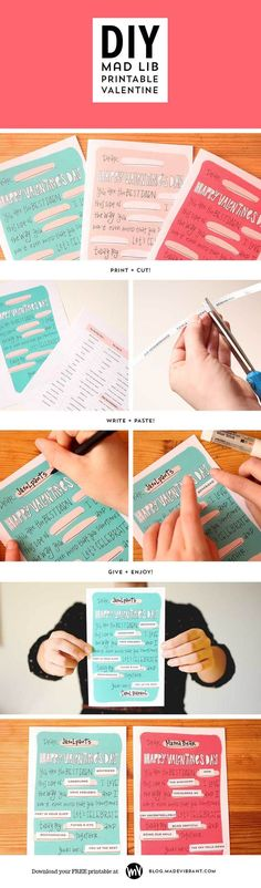 "Free Printable Valentine's Day Card: DIY Mad Lib (via Made Vibrant) // The card is ""totally customizable to you"" -  meaning it's great for kids, adults, friends, and significant others. :)"