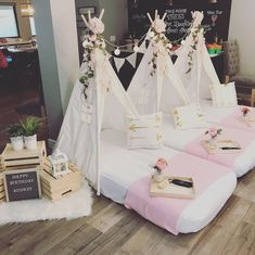 Enjoy your awesome movie night sleepover in our boho tribe teepees. Party 3 of 5 . 13th Birthday Party Ideas For Girls, Birthday Sleepover Ideas, Girl Spa Party, Sleepover Birthday Parties, Girl Sleepover, Birthday Party Themes, Happy Birthday, Sleepover Activities, Sleepover Ideas For Teens