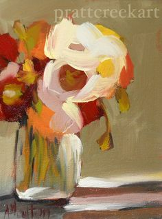 poppies in jar original oil painting by moulton 4 x 6 inches on canvas flowers