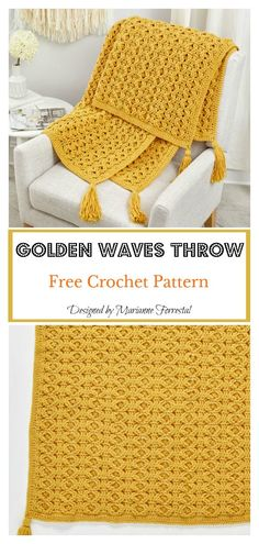 Crochet Afghans 514043744965969611 - Golden Waves Throw Free Crochet Pattern Source by Crochet Afghans, Motifs Afghans, Crochet Motifs, Crochet Pillow, Crochet Stitches Patterns, Crochet Hooks, Knitting Patterns, Crochet Blankets, Free Crochet Blanket Patterns