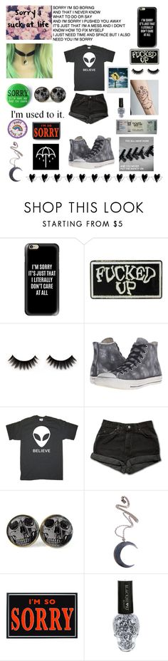 """Sorry"" by ellafourni3r ❤ liked on Polyvore featuring Casetify, Converse, Levi's, Polaroid, Kill Star and Hot Topic"