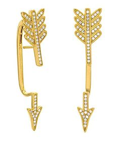 18K Yellow Gold Plated Sterling Silver Illusion Hinged Arrow Earrings, Signity 1.1mm CZ Pave, 1-3/4 inch long - Brought to you by Avarsha.com