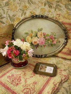 lovely old frame- I should do this for my old oval frame.