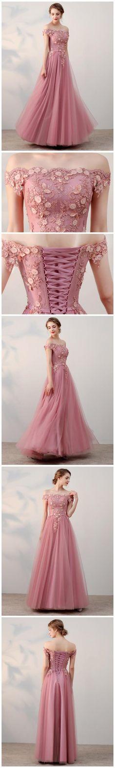 Chic A-line Off-the-shoulder pink Applique Tulle Modest Long Prom Dress Evening Dress from aimidress - 2020 New Prom Dresses Fashion - Fashion Of The Year Formal Dresses For Women, Elegant Dresses, Pretty Dresses, Beautiful Dresses, Dress Formal, Formal Gowns, Ball Gowns Prom, Ball Dresses, Homecoming Dresses