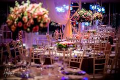 Arranjos das mesas dos convidados