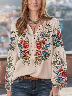 Women Boho Blouses Casual V Neck Long Sleeve Embroidery Mulheres Boho blusas Casual V Neck manga comprida bordado - glamcloth Boho Fashion, Fashion Dresses, Womens Fashion, Club Fashion, Unique Fashion, High Fashion, Winter Fashion, 40s Fashion, Fashion 2018