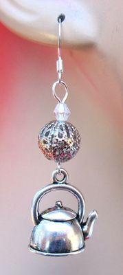 Silver Tea Kettle Charm Earrings