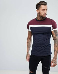 Asos design t-shirt with colour block in navy. asos design relaxed t-shirt Shirt Designs, Design T Shirt, Custom Design Shirts, Style Costume Homme, Chemise Fashion, Asos T Shirts, Mode Costume, Moda Blog, Tee Shirt Homme