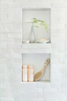 Weathered white zellige subway - if you are doing a bathroom renovation that requires opening walls, you have a chance to solve the - Restroom Remodel, Bath Remodel, Shower Remodel, Modern Master Bathroom, Small Bathroom, Bathroom Ideas, Master Bathrooms, Contemporary Bathrooms, Bathroom Organization