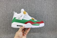 best sneakers 48f15 cd5df Air Jordan 4 Retro GG Custom White Red Green Gold 308599-111-3 Green