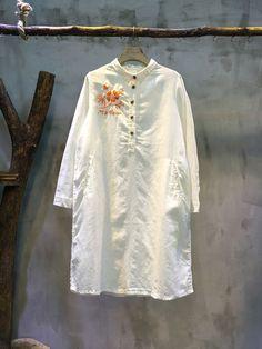 Chest Embroidery Loose Cotton Linen Blouse Cheap White Blouse