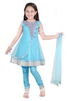 Kids Beautiful Firozi Blue Net Anarkali Suit http://haveheartdaily.net