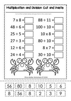 Multiplication and Division Cut and Paste Math Worksheets / Printables FREE Multiplication And Division Worksheets, 3rd Grade Math Worksheets, Sixth Grade Math, Free Math Worksheets, School Worksheets, Math Multiplication, Second Grade, 3rd Grade Division, Division Games