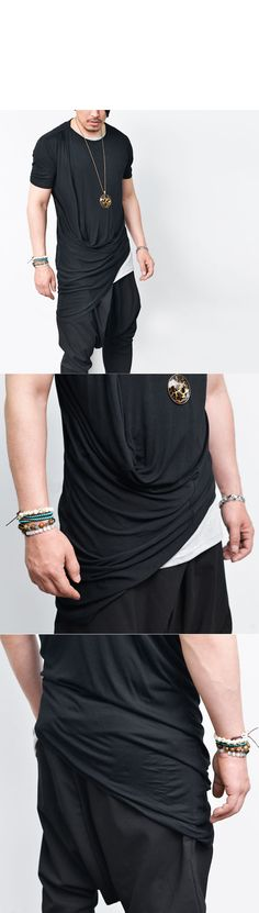 Tops :: Tees :: Unbalance Shirring Drape Viscose Round-Tee 526 - Mens Fashion Clothing For An Attractive Guy Look