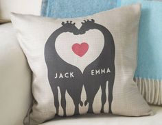 Show someone you love, how much they mean to you with this cute personalised giraffe couples cushion.
