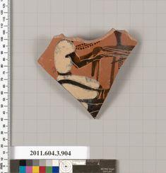Terracotta fragment of a lekythos (oil flask) | Greek, Attic | Archaic | The Met