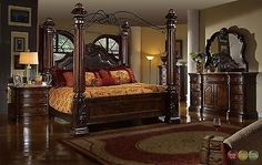 traditional king poster canopy leather bed 4 piece bedroom set marble tops new
