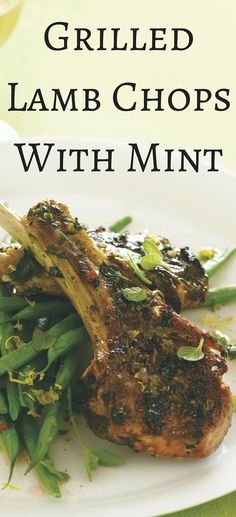 Easter Dinner Idea: Grilled Lamp Chops With Mint The classic pairing of lamb and mint tastes new when chops are marinated in fresh mint, rosemary and garlic, and a gremolata sauce made of lemon zest, garlic and parsley. Serve with green beans. Bbq Lamb Chops, Rosemary Lamb Chops, Grilled Lamb Chops, Lamb Steak Marinade, Mint Recipes, Lamb Recipes, Cooking Recipes, Smoker Recipes, Kabobs