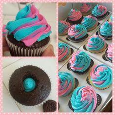 Gender reveal cupcakes #genderreveal