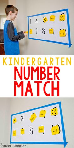Try this fun, engaging activity with your child: the kindergarten number match will let them move and interact with math away from a worksheet. Kindergarten Math Activities, Numbers Kindergarten, Preschool Activities, Maths, Number Activities, Indoor Activities, Family Activities, Toddler School, Software