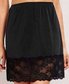 Jones New York Lace Half Slip 620218 - Bras, Panties & Shapewear - Women - Macy's Satin Lingerie, Pretty Lingerie, Beautiful Lingerie, Lingerie Models, Women Lingerie, Satin Slip, Ladies Slips, Skirt Fashion, Night Gown