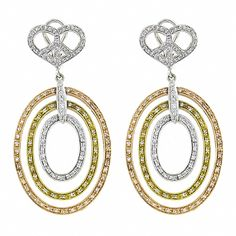 Estate 3.00ct Round Cut Diamond 18k Yellow White & Pink Gold Chandelier Earrings - See more at: http://www.newyorkestatejewelry.com/earrings/3.00ct-diamond-3-color-gold-chandelier-earrings/24286/5/item#sthash.73gXskb5.dpuf