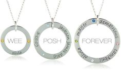 Love these Loop Necklaces with kids names and birthstones.  Posh Mommy