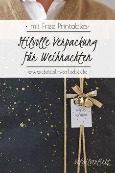 Individuelle und kreative Idee zum Geschenkverpacken. Kostenlose Vorlage zum Ausdrucken. Geschenke hübsch verpacken. Geschenke stilvoll verpacken. Freebie Etikett. Geschenkverpackung Weihnachten einfach selber machen. Gefunden auf www.detail-verliebt.de # Diy Weihnachten, Wraps, Gift Wrapping, Seasons, Gifts, Packaging, Xmas, Templates Free, Ideas For Christmas