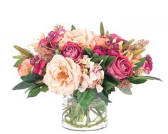 Natural+Decorations,+Inc.+-+Rose+|+Hydrangea+|+Apricot+|+Burgundy+|+Glass+Cylinder