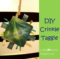 Leftover scraps of fabric and ribbon? Need a quick, inexpensive baby gift? Babies love to make that crinkle noise, and explore the different textures of the ribbons!