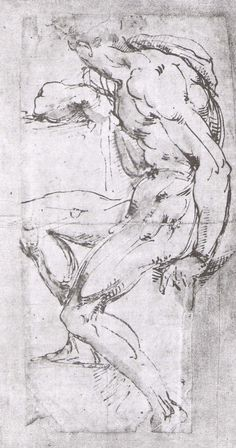 Baccio Bandinelli (1493-1560), Male Nude From Sistine Ceiling. Pen and bistre wash