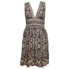 Naeem Khan Cream and Brown Embroidered Dress Size M | From a collection of rare vintage day dresses at https://www.1stdibs.com/fashion/clothing/day-dresses/
