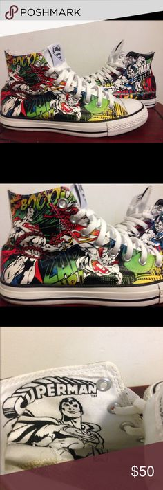Converse all star dc comics Superman size 9 Shoe are in good condition just in to be clean up a little other then that great shoe and does not come with the inside sole. Please view photos. Thank you Converse Shoes Sneakers