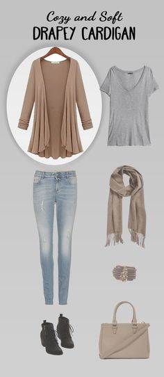 Stay warm while looking effortlessly chic in this soft drapey cardigan. Its full soft sleeves and wavy, flirtatious open front drapes go all the way on the back as well and is versatile enough to pair with anything. Wear with your favorite skinnies and a simple tee or cami and you are ready for the day! Available in 5 colors: White, Tan, Navy, Gray, and Black.