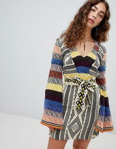 Free People Patchwork mini sweater dress
