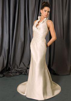 Halter Floor Length Attached Silk Dupioni Beading Wedding Dress Style 6752   $299